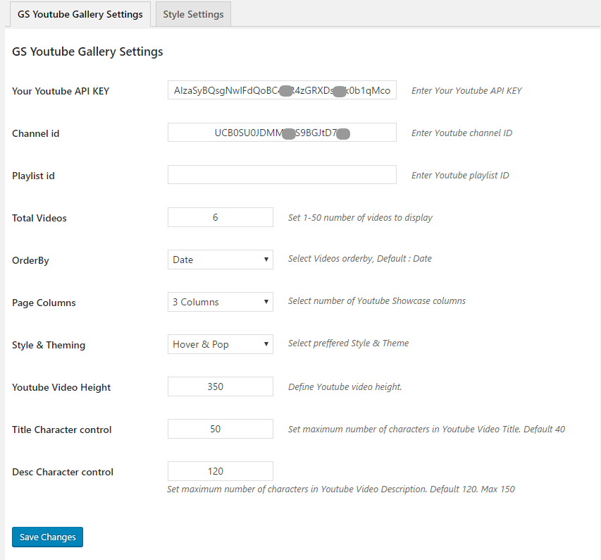 GS YouTube Gallery General Settings